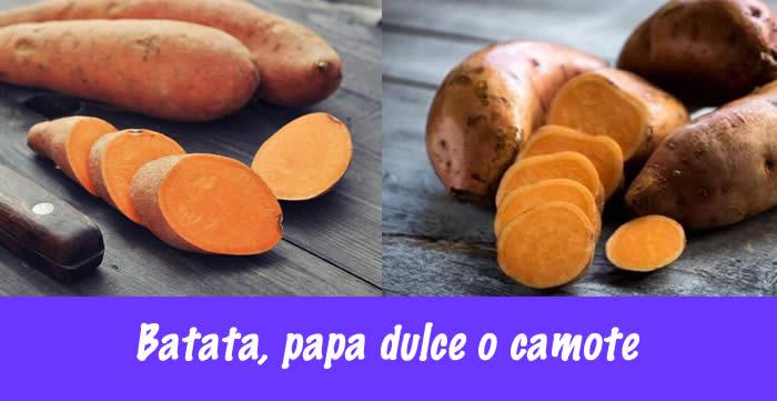 batatas llamada comúnmente en Paraguay y Argentina, papa dulce o camote
